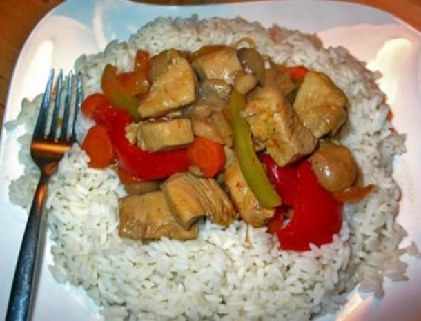 Hühnchen chinesisch mit Basmati Reis - Rezept