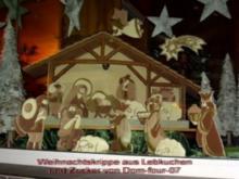Weihnachtskrippe aus Lebkuchen  und Zucker hergestellt - Rezept
