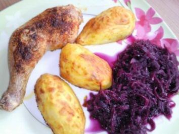 Knoblauch-Paprika Hähnchenschenkel mit Kartoffel aus dem Ofen - Rezept