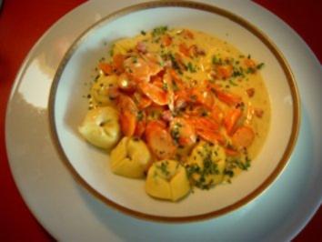 Tortelloni mit Möhrenrahmsößchen - Rezept