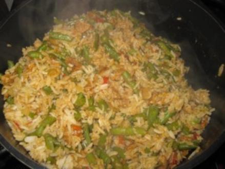 Reis-Topf mit Schweinefilet und grünen Bohnen - Rezept