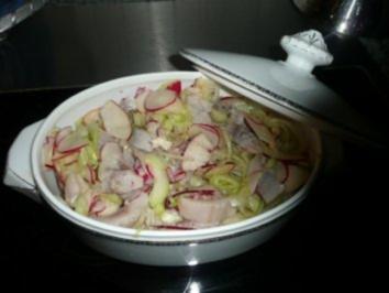 SALAT /FISCH:Matjessalat mit Rettich,Äpfeln und Sherry - Rezept