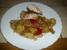 Kartoffel-Bohnen-Salat mit Schinken und lecker gefüllte Hühnerbrust - Rezept