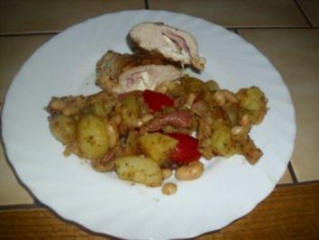 Rezept: Kartoffel-Bohnen-Salat mit Schinken und lecker gefüllte Hühnerbrust