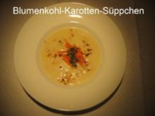 Kochduellrezept 4 - Blumenkohl-Karotten-Süppchen, Kartoffelkuchen mit Lauch und Pilzen, Quarkmousse an Himbeercoulis - Rezept