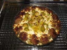 Kartoffel-Rosenkohl-Hackbällchen-Auflauf mit Schafskäse überbacken - Rezept