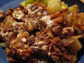 Rezept: Kartoffelauflauf mit Kohl, Lauch und Tatar