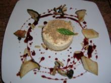 Waldpilz-Tiramisu mit Pinienkernen und Portweinjus - ein exquisite Vorspeise - aber etwas zeitaufwändig - Rezept