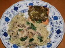Lachs aus dem Backofen mit Spinat-Spaghetti - Rezept