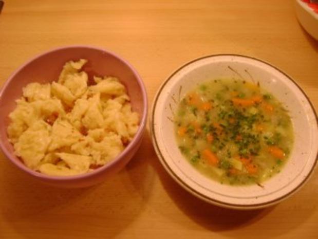 Gemüsesuppe mit Wasserspatzen - Rezept