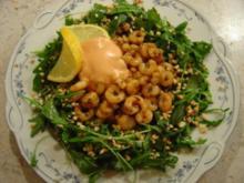 Sherry - Garnelen im Rucola-Salat-Bett mit Mandeln... - Rezept