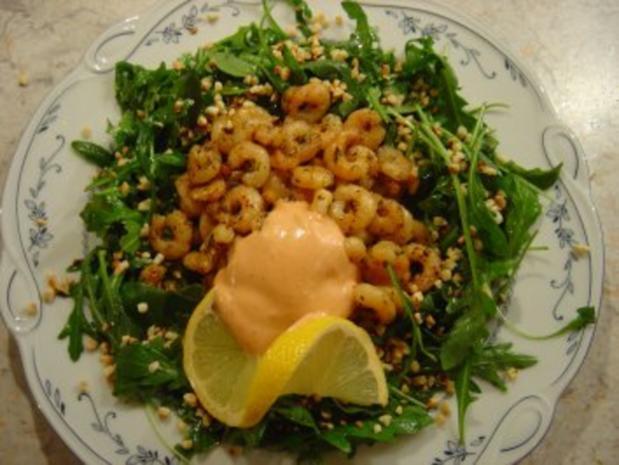 Sherry - Garnelen im Rucola-Salat-Bett mit Mandeln... - Rezept - Bild Nr. 2