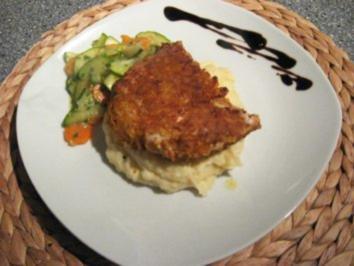 Cornflakes-Chicken auf Kartoffelstampf - Rezept