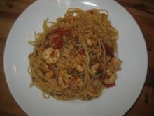 Spaghetti mit King Prawns (Riesengarnelenschwänze) - Rezept