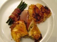 Gefüllte Maispoulardenbrust mit Pesto, dazu Gratin von Petersilienwurz und roten Kartoffeln - Rezept