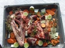 Gebratene Gans mit Kalbfleisch/Apfel/Maronen Füllung - Rezept
