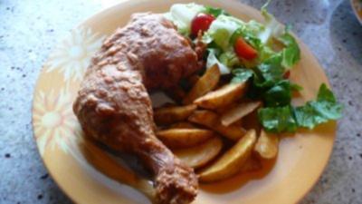 Hähnchenkeule im Bierteig gebacken - Rezept