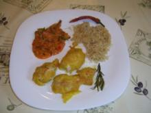 Hühnerbrustfilet in Safran-Bierteig mit Sahnegemüse und Mienudeln - Rezept