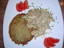 Kalbsgeschnetzeltes mit Champignons und selbstgemachten Rösti - Rezept