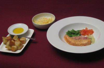 Edelfischsuppe mit Rouille, geriebenem Gruyere und Knoblauch-Croutons - Rezept