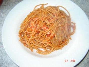 Scharfe Fleischwurst Volkornspaghetti - Rezept
