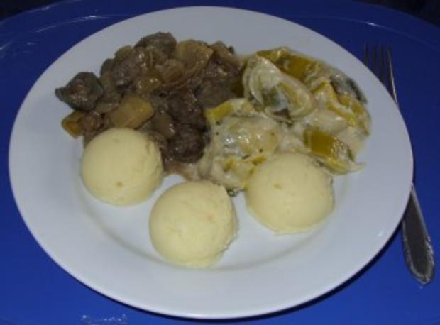 Pfannengericht - Leber-Gulasch mit Porree - Rezept