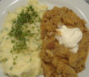 Szegediner Gulasch mit Kartoffel - Kresse - Pürree - Rezept