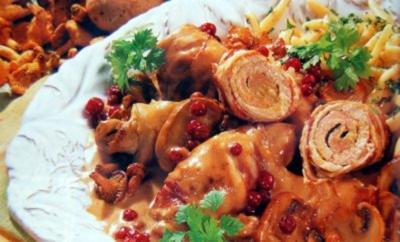Fleischröllchen mit Pilzrahm - Rezept