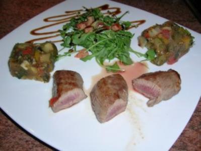 Ratatouille Terrine mit gebratenem Lammfilet - VORSPEISE - unser Essen zum 1. Advent - Rezept