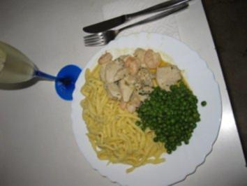 Hühnerfrikasse mit Kaisergranaten(Scampi) und Sektcreme - Rezept