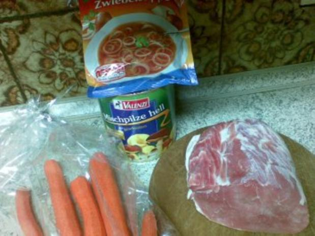 Schlauchbraten mit Pilzen und Karotten - Rezept - Bild Nr. 2
