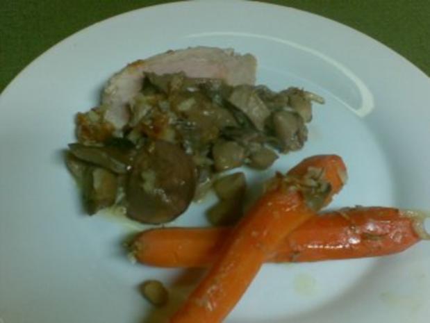 Schlauchbraten mit Pilzen und Karotten - Rezept