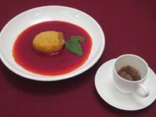 Eisüberraschung mit Fruchtspiegel und Espressosorbet - Rezept