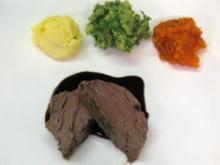 Rinderfilet im Salzmantel an dreierlei Kartoffelpüree - Rezept