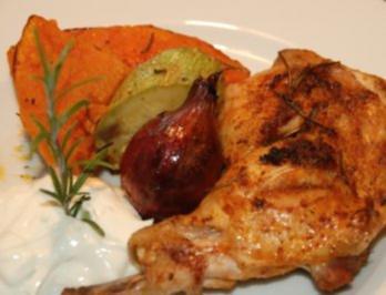 Ofenkürbis mit Hähnchen und Rosmarin - Rezept