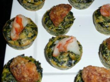 FINGERFOOD/GEMÜSE+FISCH:Spinat Muffins mit Garnelen - Rezept