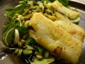 Salat : Linsen - Feldsalat - Salat mit Pangasiusfilet - Rezept
