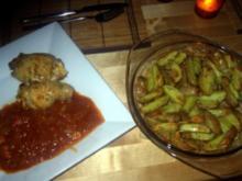 Hähnchenrouladen mit Tomaten-Knoblauch-Sosse und Rosmarin-Drillingen - Rezept