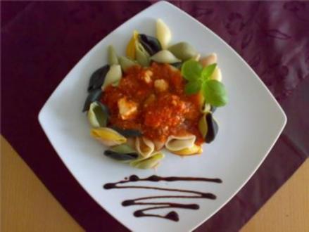 ** Pasta ** Pasta in Tomaten - Basilikumsoße mit Schafskäse - Rezept