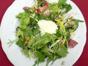 Gratinierter sardischer Ziegenkäse auf Wildkräutern u. Blattsalat mit Heidelbeeren (Sardinien) - Rezept