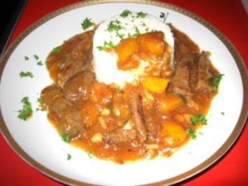Gebratenes Rindfleisch mit Mango - Rezept
