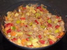 Pfannengericht - Hackfleisch-Bratwurst-Pfanne mit Gemüse und Kartoffeln - Rezept