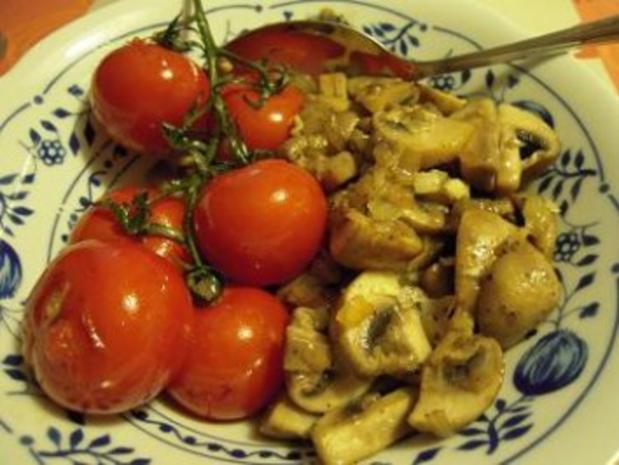 Schweinemedaillons mit Champignons und gegrillten Tomaten - Rezept