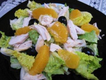Römersalat mit Orangenfilets und Hühnchenfleisch ... - Rezept