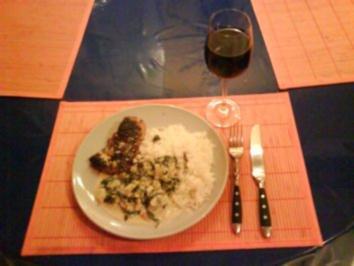 Geflügel: Hähnchenbrustfilet mit Mangold-Sahne-Büffelkäse und Jasminreis - Rezept