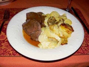Rinderbraten mit Kartoffelgrattin. - Rezept
