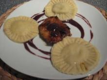 Champignon-Ravioli mit Kalb & Rotweinsoße - Rezept