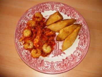 "Rezept: Mary's  "" Yamwurzel "" mit Tomaten-Shrimpsoße"