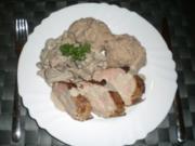 Schweinefilet mit Rahmpilzen und Kartoffel-Maronen-Püree - Rezept