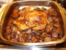 Huhn mit Lila Kartoffeln und Champignons aus dem Backofen - Rezept